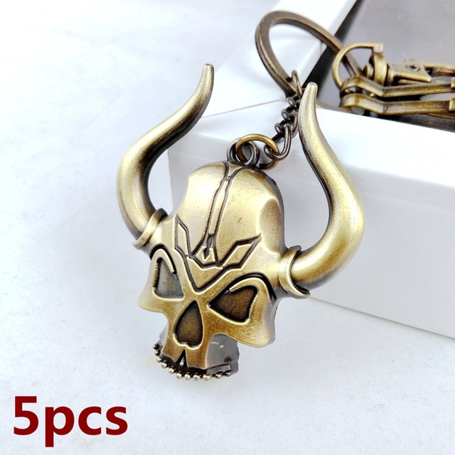 5pcs 2017 New Cool Unique Metal Vintage Evil Tauren Skull Key Chain Ring Anime Keychain Novelty