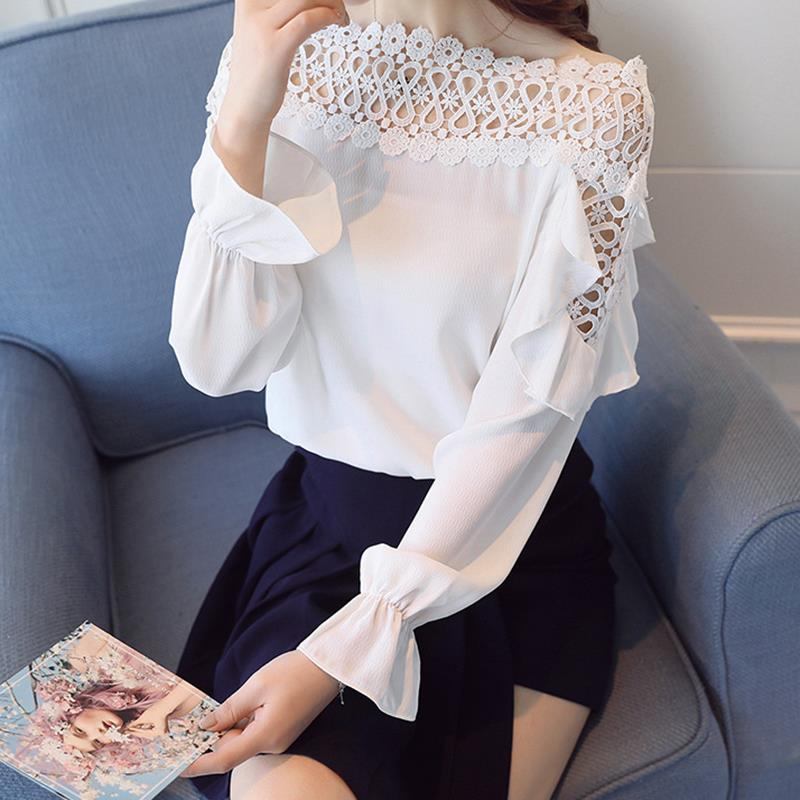 Women Chiffon Blouse New 2018 Off Shoulder Lace Patchwork Spring Work Shirt Long Sleeve Ruffle Office Shirts Casual Tops WS6346O ...