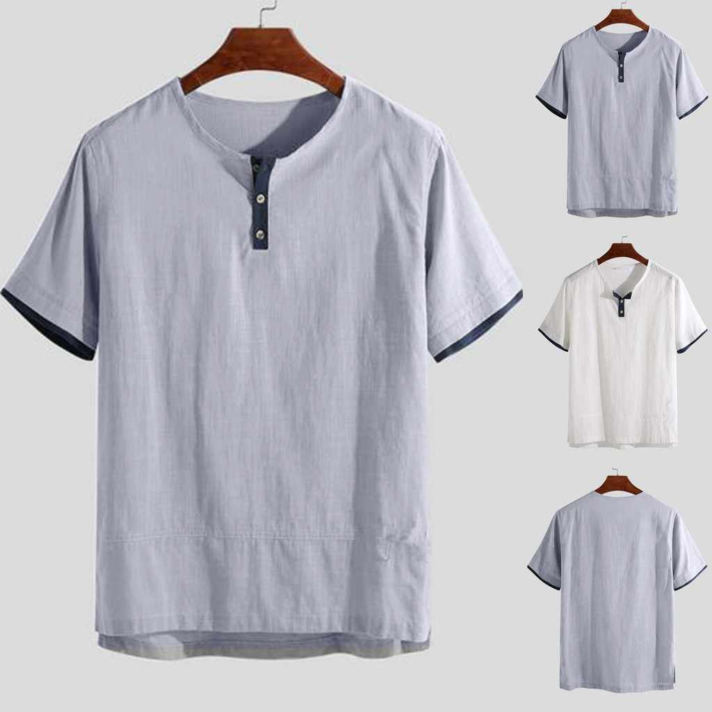 メンズシャツトップスシュミーズ夏のファッション純粋な綿と麻半袖シャツの男性の快適なトップカジュアル camisas masculina 原宿