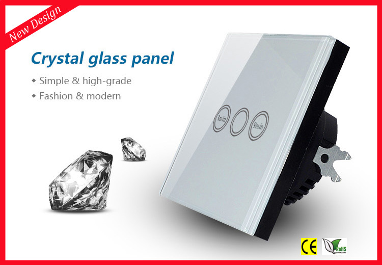 EU Type Touch Light Timer Switch with Crystal Tempered Glass Panel, 1 Gang 1 Way Time Delay Wall Switch smart home us au wall touch switch white crystal glass panel 1 gang 1 way power light wall touch switch used for led waterproof