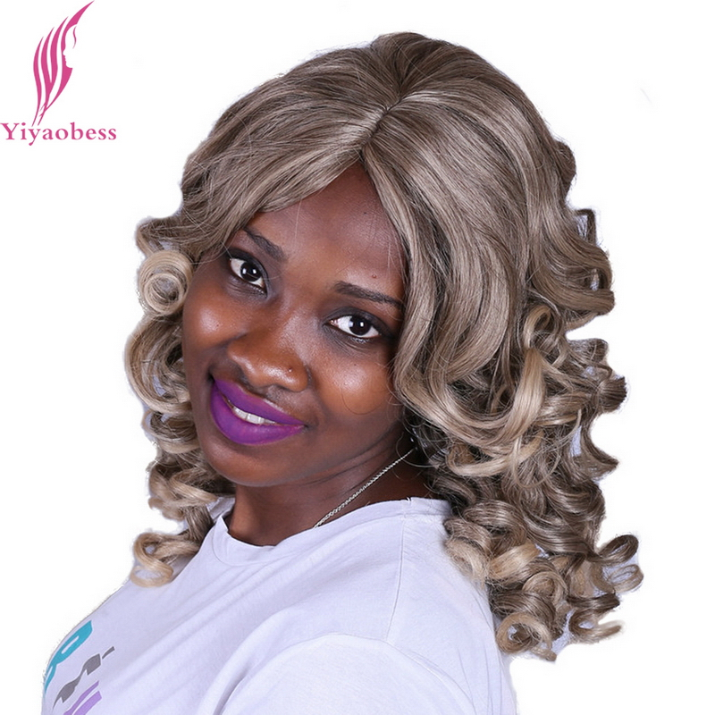 Yiyaobess 40cm Synthetic U Part Mix Blonde Ombre Natural Curly Wigs Medium Hairstyles For African American Women
