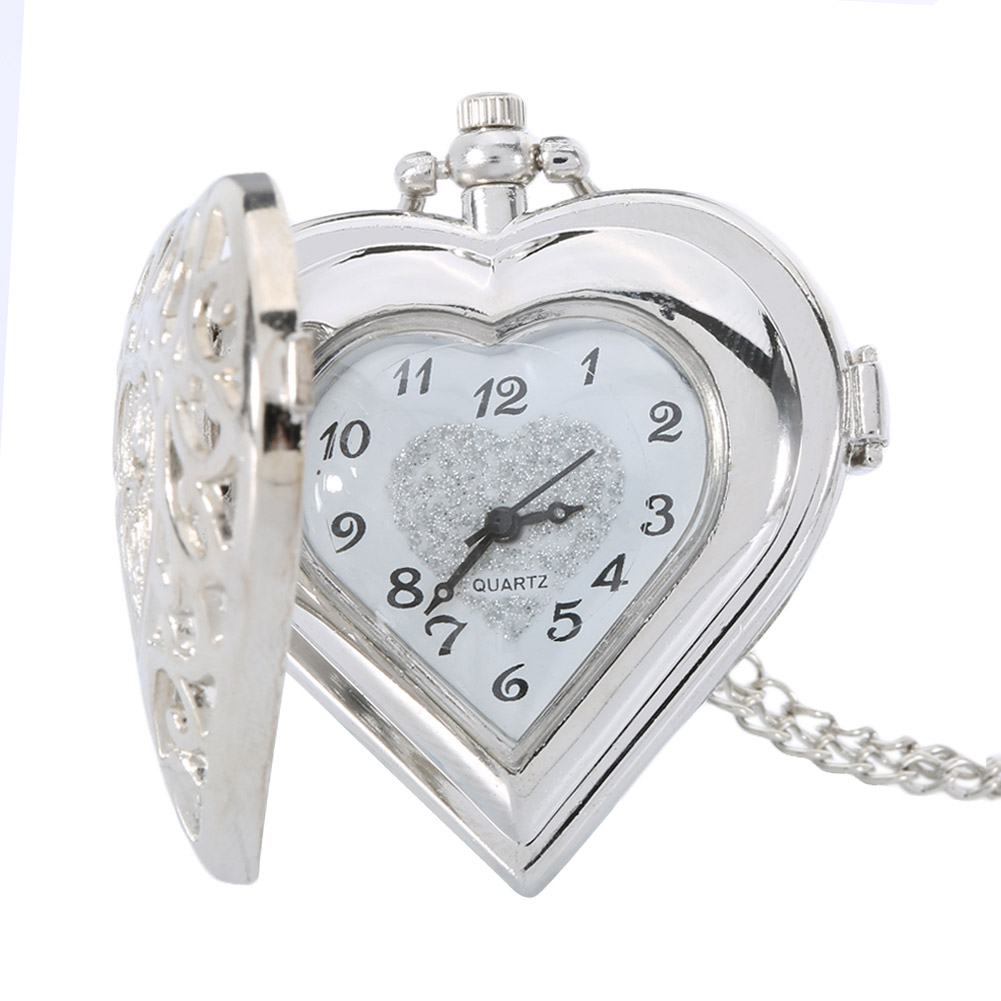 Fashion Silver Color Hollow Quartz Heart Shaped Pocket Watch Necklace Pendant Chain Clock Women Gift High Quality LXH