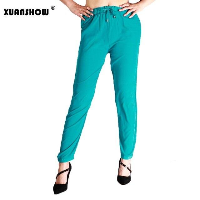 97648210b XUANSHOW Primavera Verano mujeres Pantalones largos de la gasa delgada  elástico Wist Pantalones Mujer