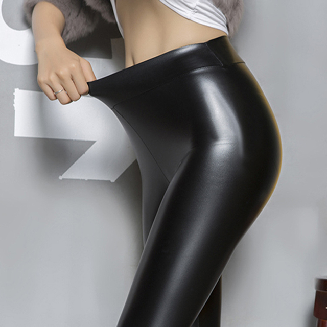 Well known 2017 New Women Washed Polish Glossy PU Leather Pants Big Stretchy  DE62