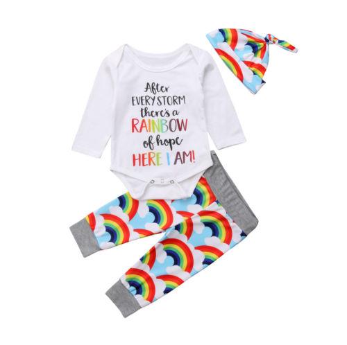 Baby Girl Boy Tops Bodysuit Rainbow Pants Hat Outfits Set 3Pcs Infant Clothes Set Cute Newborn Infant Baby Girls Clothing 3-18M