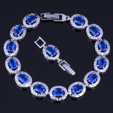Precious Oval Blue Cubic Zirconia 925 Sterling Silver Link Chain Bracelet 18cm 20cm For Women V0224