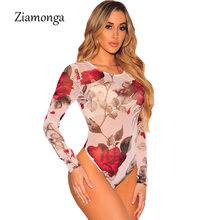 cbbe2e555a Ziamonga 2017 New Autumn Women Bodysuits Print Flower Sexy Club Jumpsuits  Long Sleeve Bodycon Sheath Bodysuit Elastic Overalls