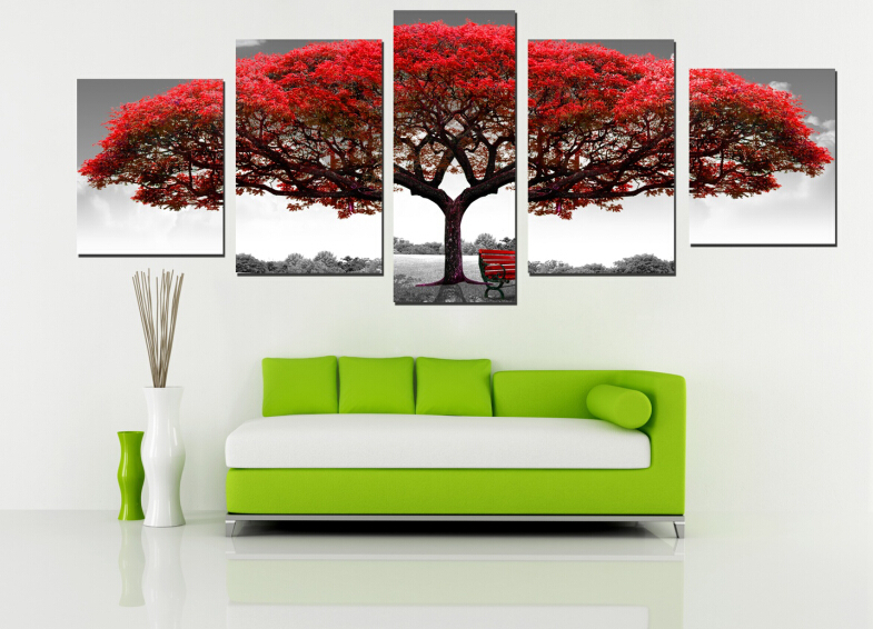 5 Panel Modern Printed Red Tree Big Like Safe Guardian Art Painting Printed Home Decoration For Living Room Pictures Artworks