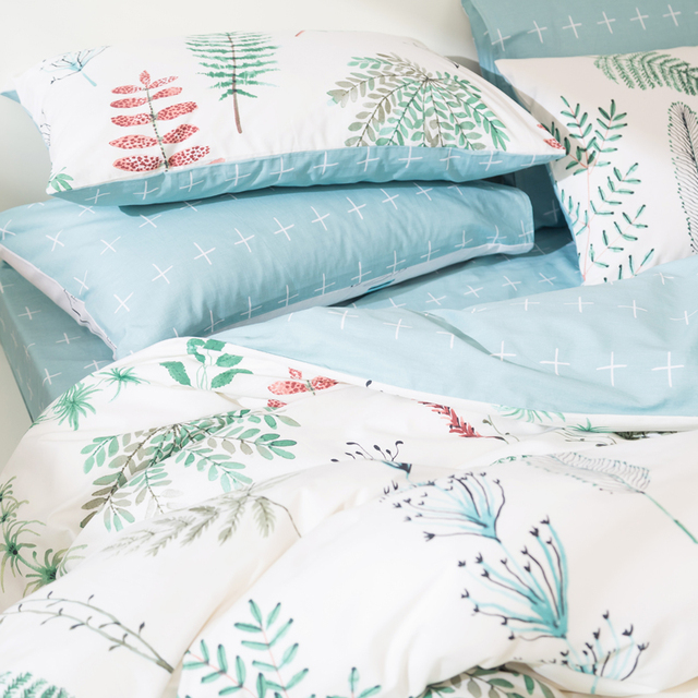 Svetanya Leaves Print Sheet Pillowcase and Duvet Cover Sets 100% Cotton Bedlinen Twin Double Queen King Size Bedding Set 2