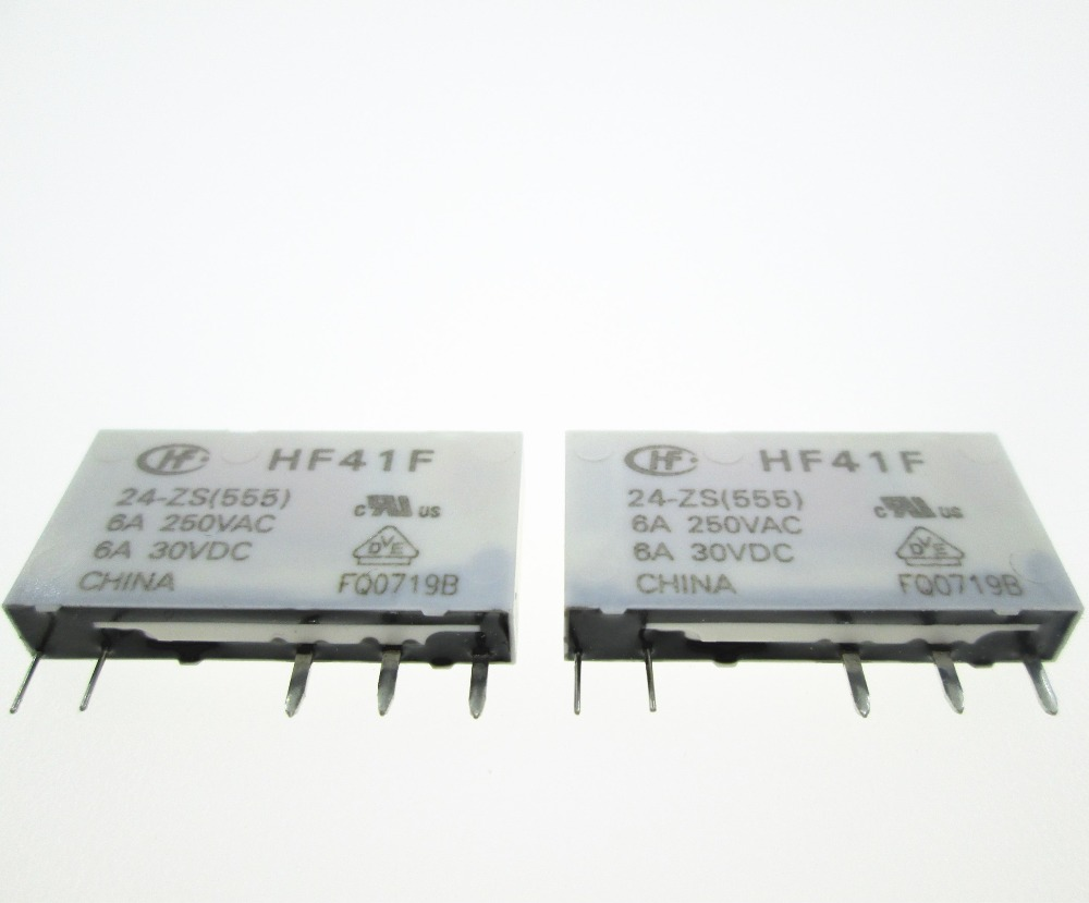 HOT nowy przekaźnik HF41F 24 ZS HF41F 024 ZS HF41F 24 ZS 024 ZS HF41F 24 HF41F24ZS 24VDC DC24V 24 V DIP5 10 sztuk/partia w Przekaźniki od Majsterkowanie na title=