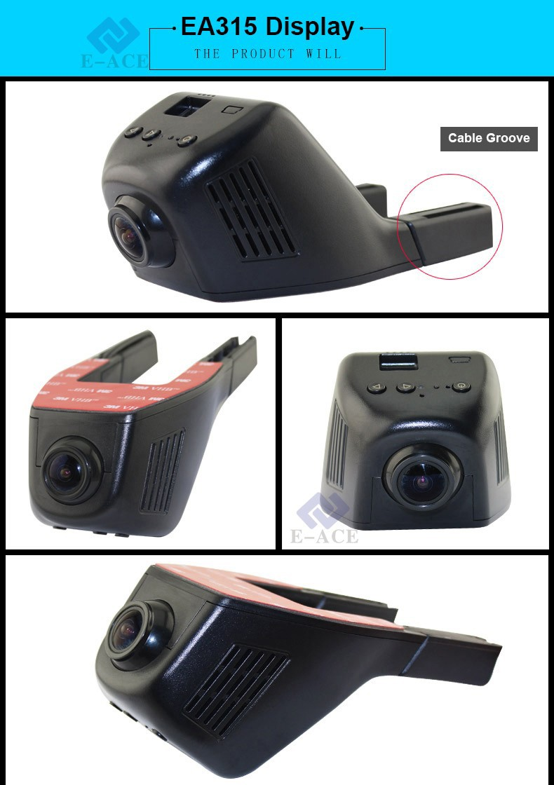 E-ACE Mini Wifi Car Dvr Dash Cam Video Recorder Camcorder Dual Camera Lens 170 Degree Full HD 1080P Reistrator Night Version 25