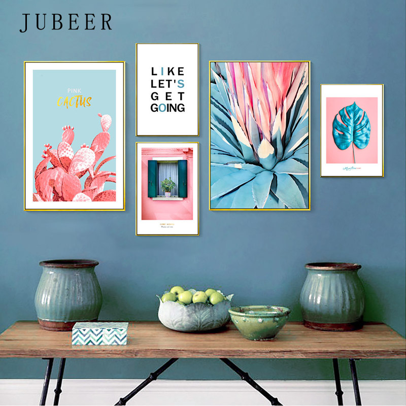 Pink Cactus Posters and Prints Wall Art Leaf Modern Wall Paintings Picture Painting On Canvas Nordic Decoration Home Decor in Painting Calligraphy from Home Garden