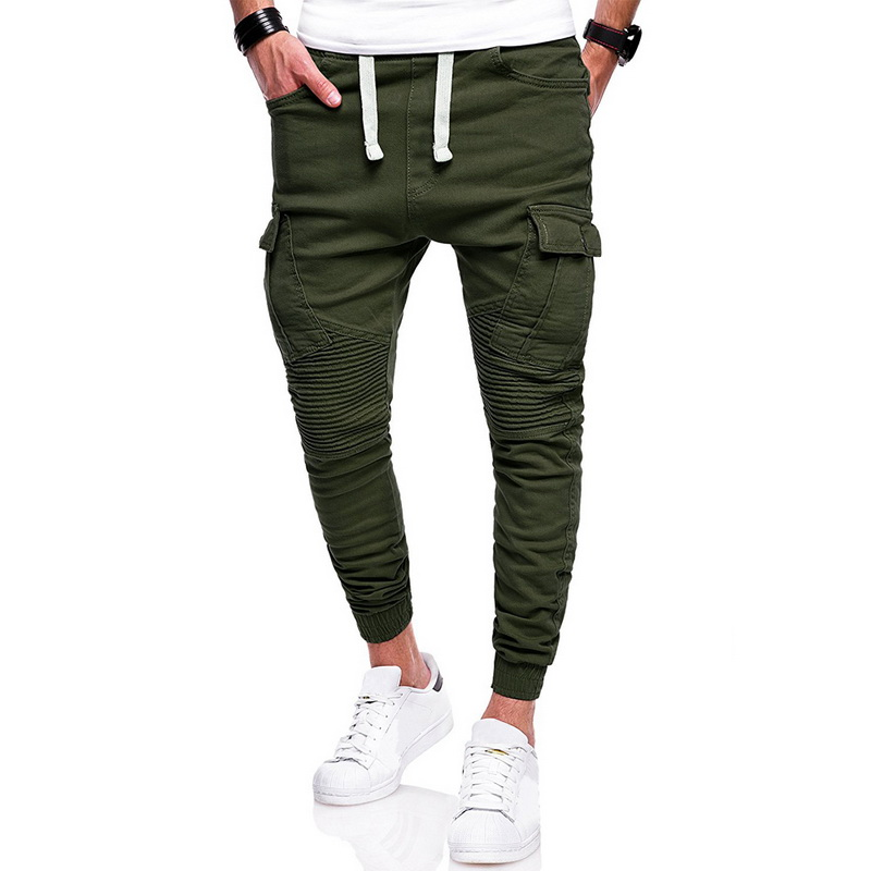 Trousers Cargo-Pants Pockets Pleated Harem Patchwork Elastic-Waist Casual Joggers Hip-Hop