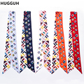 HUGGUH Brand New Women Emulation Silk Scarf Flower Headband Twilly Ribbon Handle Bag Accessories Women Hair Band BSJ1611282