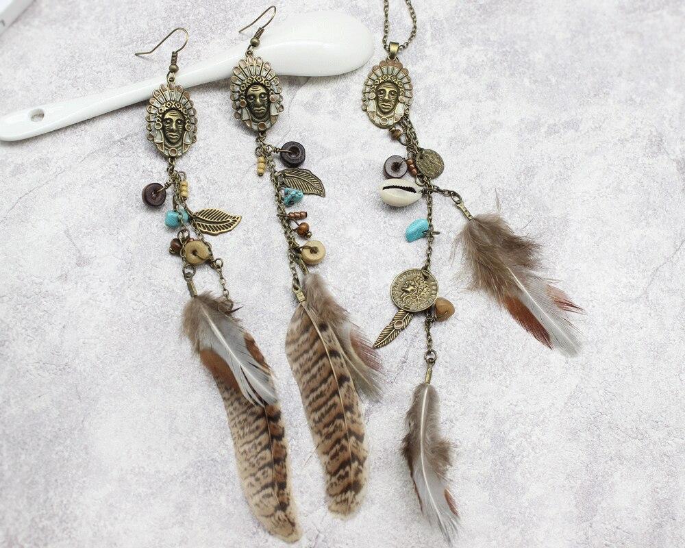 HTB1qMvimC I8KJjy0Foq6yFnVXa3 - Women Long Necklace Indian Coin Stone Feather Fringed Necklaces Decorative Sweater Chain Collar Pendant Choker Bijoux (XL012)