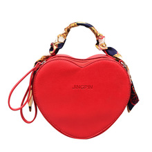 Women bag Women's Leather Handbags heart shaped red Tote Shoulder Bag Women Messenger Bags Scarf ladies hand bags for 2019 New недорого