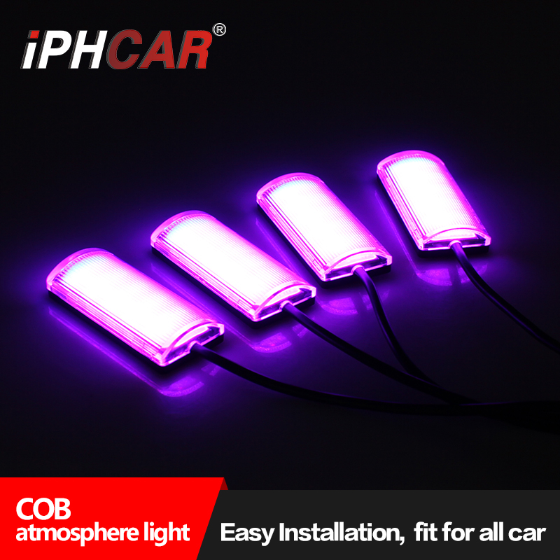 Free Shipping IPHCAR 4-in-1 In Car Auto Charge Interior COB Atmosphere Light Decoration Lamp Car Styling Single Color or RGB 2pcs 12v 31mm 36mm 39mm 41mm canbus led auto festoon light error free interior doom lamp car styling for volvo bmw audi benz