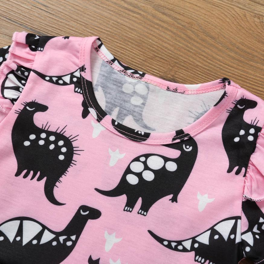 Mother & Kids Toddler Kid Dress For Girls 2019 Spring Baby Girl Short Sleeve Dinosaur Printing Party Dress Clothes Girl Vestidos Dropshipping Dresses