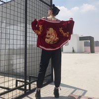 NEW Autumn winter punk embroidered dragon bomber jacket baseball uniform jacket female loose bf wind street wear fashion tops