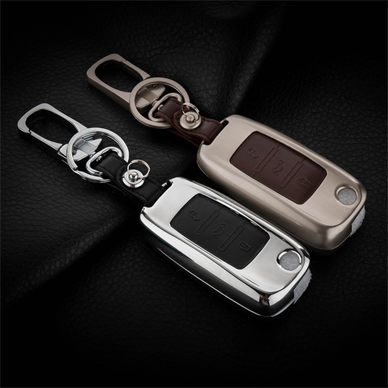 Zinc Alloy+Leather Car Key Cover Case For Skoda Octavia 1 2 3 A5 Fabia Superb Rapid Citigo Yeti For Volkswagen Jetta mk6 Beetle