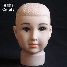 Plastic Children Manikin Doll Head Baby Child Kid Mannequin Head Model Plastic Holder Rack for Hats Caps Wigs(China)