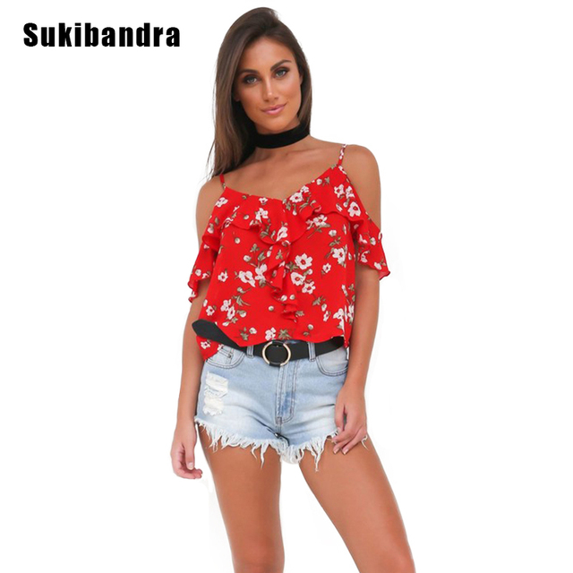 4a0452648d17a Sukibandra Summer Floral Print Strappy Camisole Top Ruffle Red Beach Camis  Vintage Retro Casual Women Bohemian Cold Shoulder Top