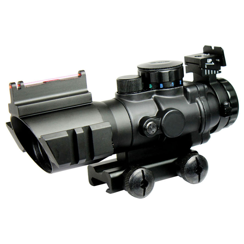 Tactical Rifle Scope 4X32  luneta para Rifle/Airsoft Gun W/ Tri-Illuminated Reticle Fiber Optic Sight Scope Hunting Chasse Caza optic sight leapers 4 16x40 optical sight airsoft chasse rifles for hunting leapers scope airsoft gun luneta para rifle caza