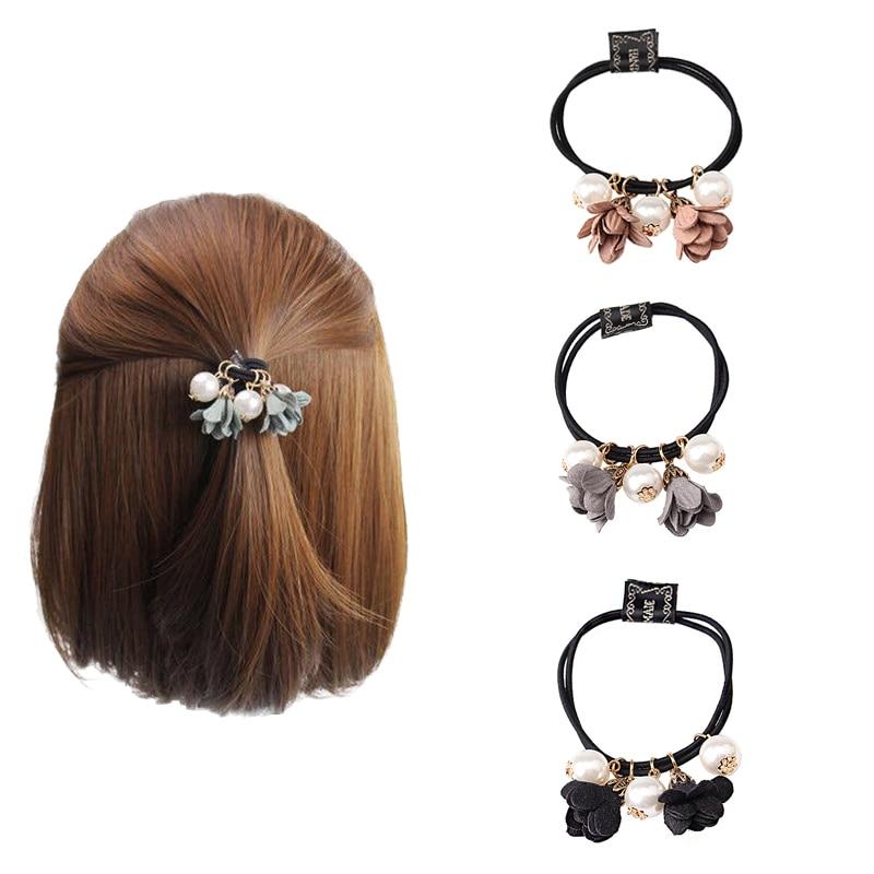 M MISM meitenes ziedu lielas pērles elastīgs gumijas matu lentes - Apģērba piederumi