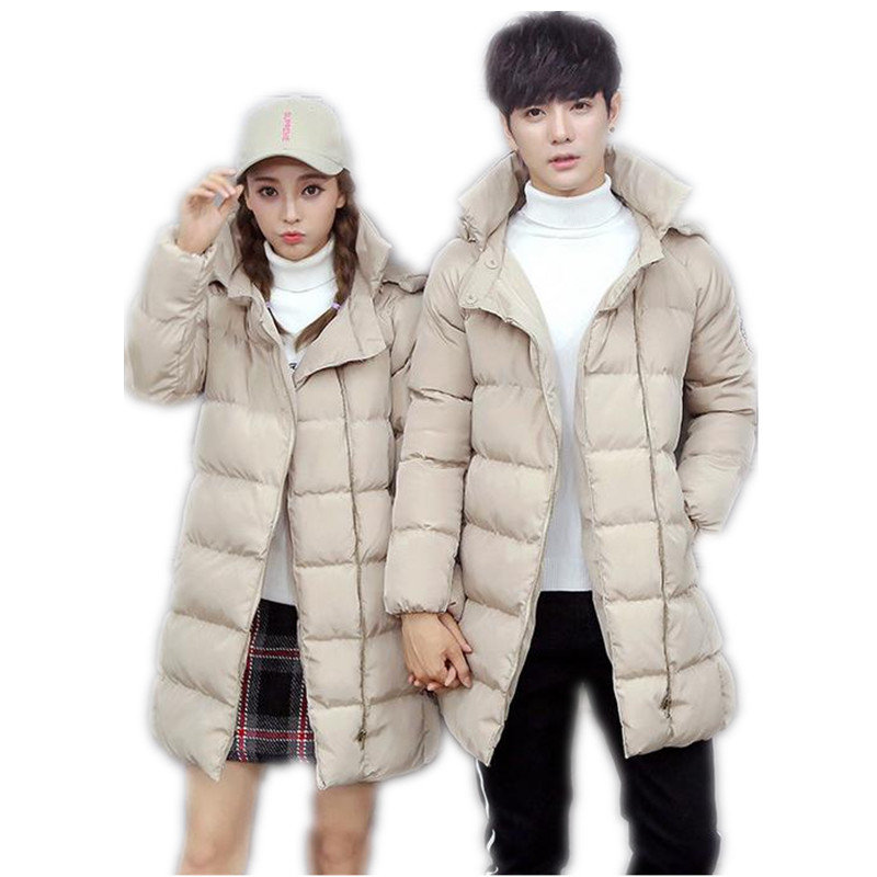 2017Fashion Winter  Couples Down Cotton Medium-Long Jacket Parka Female Hooded Size S-4XL Outerwear Print Letter Warm ParkaCQ410 plus size letter print hooded sweatshirt dress