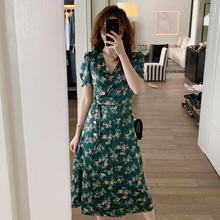 Women New 2019 Summer Vintage Print  Dress Female Short Sleeve Lace up