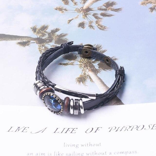 Светящийся браслет с двенадцатью созвездиями Мужская мода плетеный
