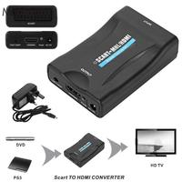 Mini SCART To HDMI Digital Video Audio Video Cables Upscale Converter Adapter 1080P HD TV USB