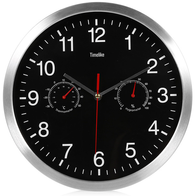 Timelike Silent Quartz Metal Wall Clock Thermometer Hygrometer Quiet Sweep Movement No-Ticking Home Art Decor New Design T6261