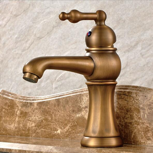 Free Shipping Antique Basin Faucet copper Bathroom Sink Faucet Luxury Sink Mixer Faucet Hot and Cold Water Tap free shipping black color basin sink faucet single level hot and cold water copper mixer tap
