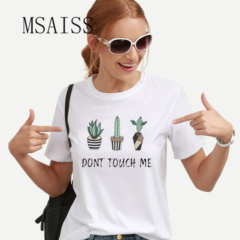 T-Shirt Cactus Round-Necked Printed Short-Sleeved Cotton Women Summer MSAISS Don't Touch