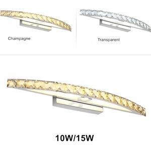 Image 2 - 10W 15WไฟLEDกันน้ำห้องน้ำVanityคริสตัลโคมไฟติดผนังสแตนเลสSconcesคริสตัลในร่มกระจกโคมไฟ 44/54 ซม.