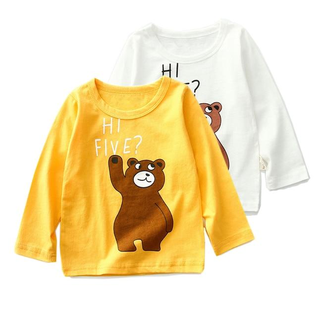 277a6966c 12M-8Y Spring Boys Girls T Shirts Children Tees Boy Girl Long Sleeve Shirts  Kids Tops Baby Clothes Yellow White cartoon Bear