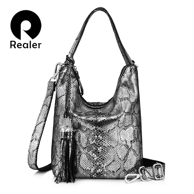 REALER genuine leather women handbags fashion female messenger bag with tassel shoulder bag for women big