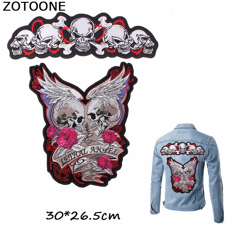 ZOTOONE Romantic Lethal Angel Rose Skull Patches Wings Iron on Embroidery Clothes Morale Custom Patch DIY Applique E