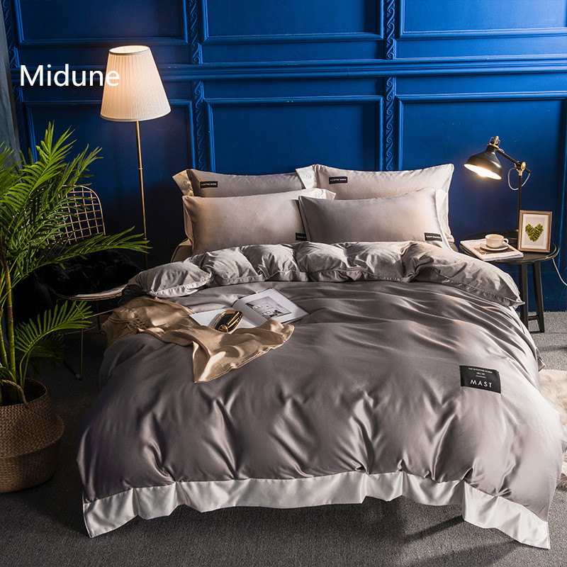 New winter warm comfortable Luxury 100% Washed Silk and Crystal cashmere Bedding Sets Duvet Cover Flat Sheet Queen King size