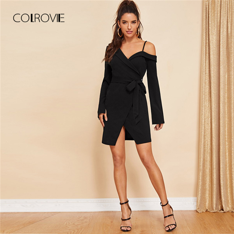 COLROVIE Black Belted Asymmetric Shoulder Wrap Office Sexy Shirt Dress Women 2018 Autumn Long Sleeve Elegant Dress Mini Dresses