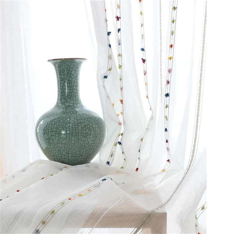 Colorful Hair Ball Embroidered Curtain White Sheer Curtains For Kitchen Living Room Bedroom Windows Treatment Tulle Panel wp263