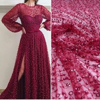 SuperKimJo Luxury Beaded Prom Dresses 2018 Long Sleeve Burgundy Arabic Style Sexy Prom Gown Vestido De Formatura Longo