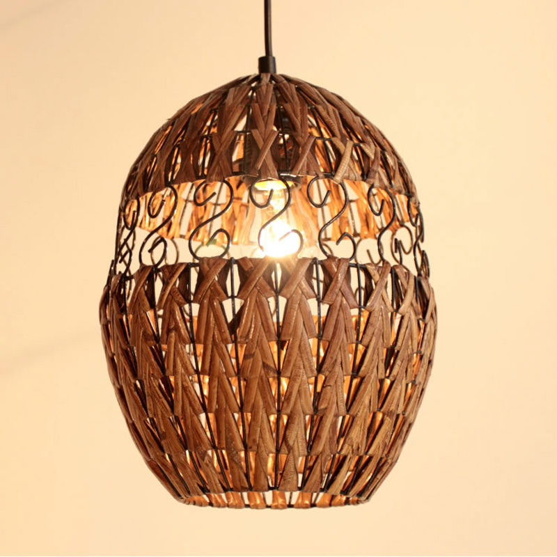 Hand Knitted Rattan Dining Room Pendant Lights Southeast Asias Living Room Pendant Restaurant Country Dining Room Pendant lamp