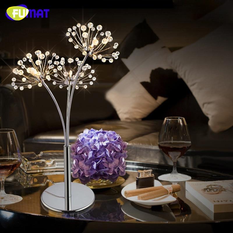 FUMAT Moderní křišťálové stolní lampy do obývacího pokoje vedle světla Jednoduchá stolní lampa LED Creative Art Luster Chrome Stolní světla