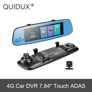 QUIDUX Car DVR 7.84 Touch E06 Rearview Mirror with GPS Android 4G ADAS Smart Remote Monitor Dual lens WIFI WDR Car dashcam subwoofer