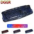 DGGR M200 русская английская игровая клавиатура 104 клавиша трещина 3 цвета с дышащей подсветкой USB Проводная цветная игровая клавиатура для ноут...
