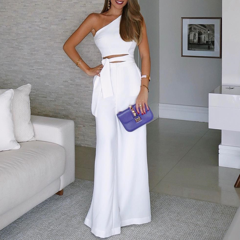 One Shoulder Summer Elegant Office Women New Fashion Casual Jumpsuits 2018 Female Cut Out Wide Leg Jumpsuit Tie Waist Overalls