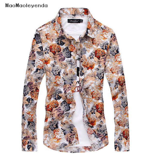 7 colors 2018 New Style Flower Printing Shirt Men's Long Sleeve Shirts  Casual Plus Size shirts M 3XL Men Dress Shirts-in Casual Shirts from Men's  Clothing ...