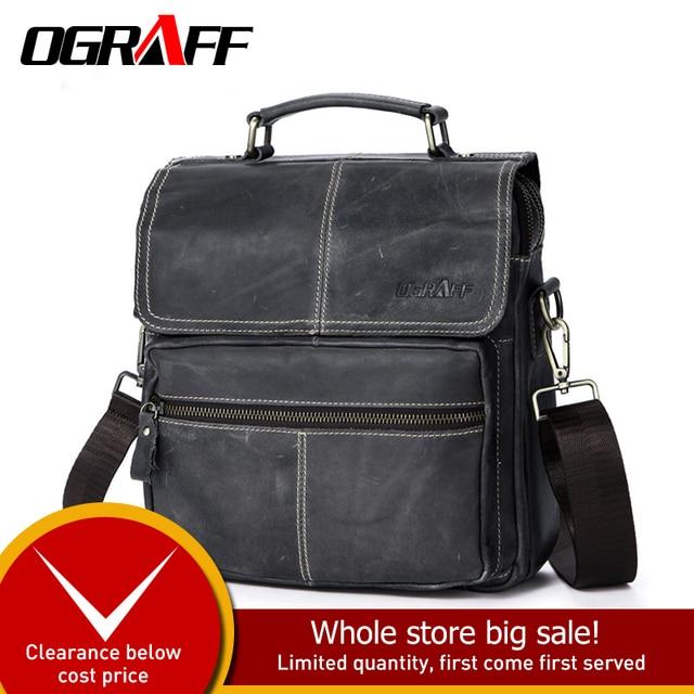 47750182f8 OGRAFF Genuine leather bags men shoulder bag messenger bags men leather  handbag designerTablets briefcase crossbody bags handbag